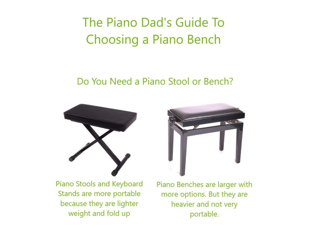 graphic showing a piano bench next to a piano stool