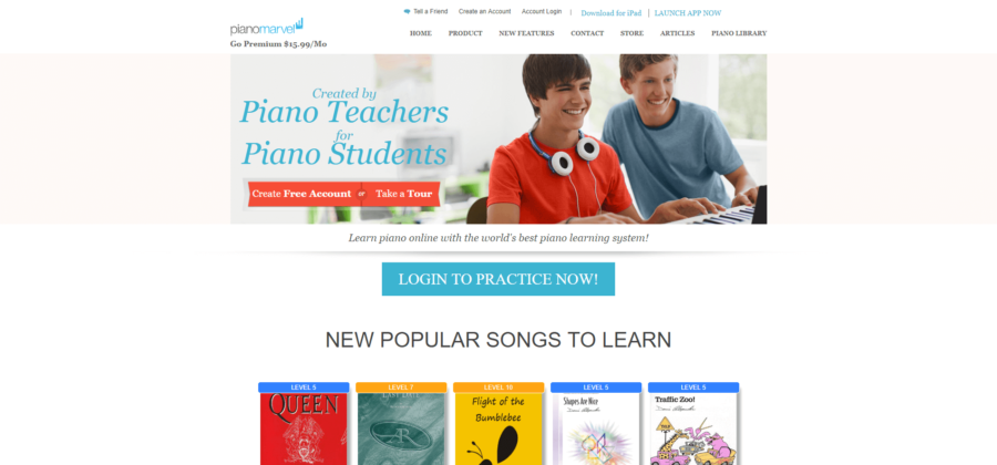 piano marvel home page screen shot
