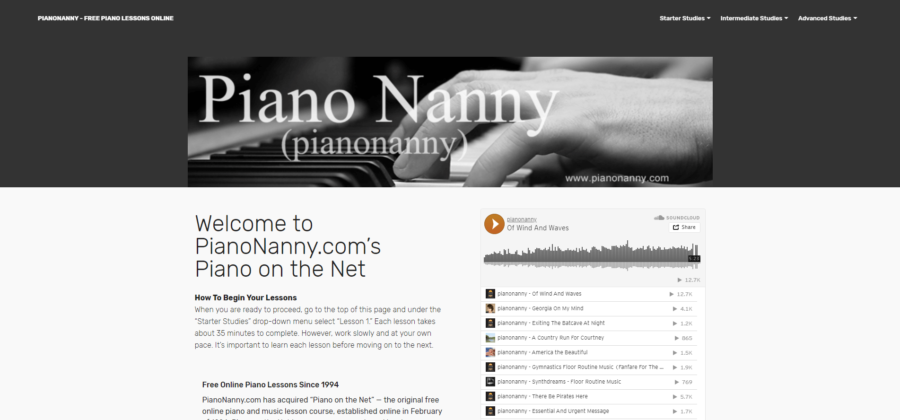 piano nanny home page screen shot