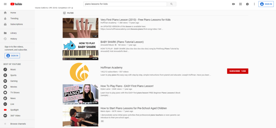 youtube online piano lessons for kids